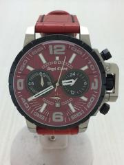 クォーツ腕時計/アナログ/レザー/RED