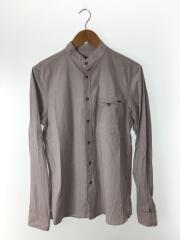 長袖シャツ/M/コットン/ストライプ/バンドカラーシャツ
