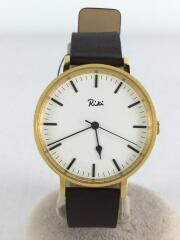クォーツ腕時計/アナログ/レザー/ホワイト/ブラウン/VJ21-KE20/SEIKO ALBA RIKI
