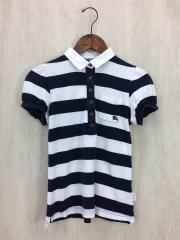 ポロシャツ/38/コットン/WHT/ストライプ