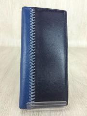 2つ折り長財布/レザー/BLU/ブルー/無地