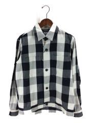 ビッグチェックシャツブルゾン/INA-51406/長袖シャツ/M/コットン/WHT/チェック