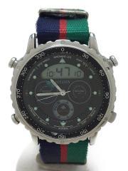 クォーツ腕時計/デジアナ/ナイロン/BLK/NVY