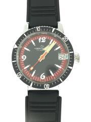 Divers Watch/unichron/クォーツ腕時計/アナログ/レザー/ブラック/黒