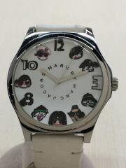 クォーツ腕時計/アナログ/レザー/WHT/WHT/使用感有/キズ有/MBM1149