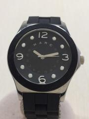 MBM9025/クォーツ腕時計/アナログ/ラバー/BLK/BLK/コマ付
