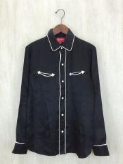 16AW/satin western shirt/ウエスタンシャツ/S/レーヨン/BLK