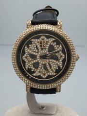 クォーツ腕時計/アナログ/レザー/BLK/BLK/ブリラミコ/クロコ型押しベルト/スワロフスキー