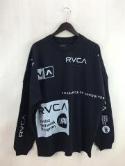 ALL OVER RVCA L/S TEE/長袖Tシャツ/M/コットン/BLK//型番:AJ042-074