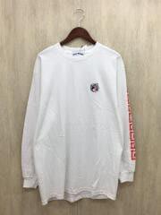 over print/オーバープリント/長袖Tシャツ/L/コットン/WHT