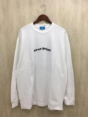 over print/オーバープリント/長袖Tシャツ/XL/コットン/WHT