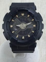 クォーツ腕時計/デジアナ/PVC/BLK/BLK