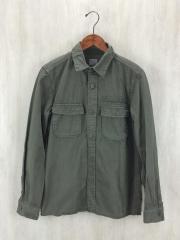ミリタリーL/Sシャツ/M/コットン/KHK