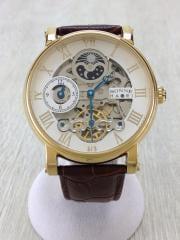 自動巻腕時計/アナログ/レザー/WHT/BRW/HAORI/スケルトン/箱有