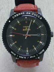 クォーツ腕時計/アナログ/BLK/RED