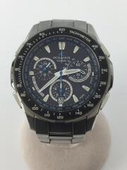 ソーラー腕時計/アナログ/ステンレス/GRY/SLV