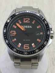クォーツ腕時計/100m防水/日付/アナログ/BLK/SLV