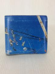 2つ折り財布/レザー/BLU/総柄/メンズ