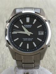 ソーラー腕時計/アナログ/BLK/SLV