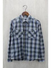 ネルシャツ/M/コットン/BLU
