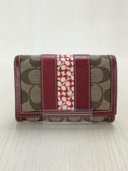2つ折り財布/キャンバス/RED/総柄