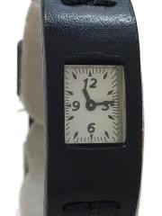 クォーツ腕時計/デジタル/レザー/BLK/BLK