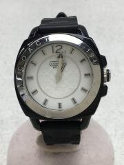 クォーツ腕時計/アナログ/ラバー/WHT/BLK