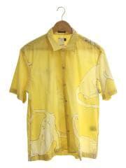 キャッツプリントシャツ/半袖シャツ/L/コットン/YLW/PC-CR-53889