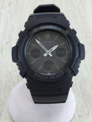 ソーラー腕時計/デジアナ/BLK/BLK