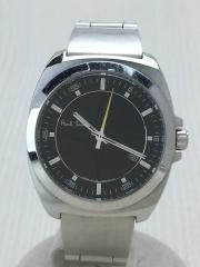 クォーツ腕時計/アナログ/ステンレス/BLK/SLV/コマ×3
