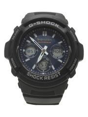 ソーラー腕時計・G-SHOCK/デジアナ/NVY/BLK/AWG-M100SB