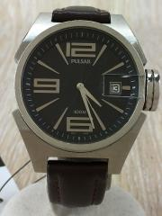 クォーツ腕時計/アナログ/--/BLK/BRW