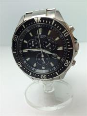 ソーラー腕時計/デジアナ/ブラック×シルバー/GN-4-S/シチズン