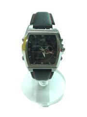 クォーツ腕時計/デジアナ/レザー/BLK