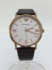 クォーツ腕時計/アナログ/レザー/ホワイト/ブラウン