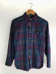 ネルシャツ/S/ウール/NVY/チェック/90s