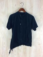 ノーカラー半袖シャツ/2/BLK/ドット