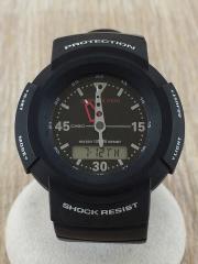 クォーツ腕時計/デジアナ/ラバー/BLK/BLK/GMN-500