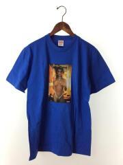 Tシャツ/M/コットン/BLU/プリント