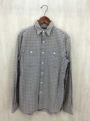 チェックL/Sシャツ/S/コットン/BEG