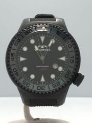 T-1144/クォーツ腕時計/アナログ/ラバー/BLK/BLK