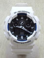 クォーツ腕時計/デジアナ/ラバー/BLK/WHT