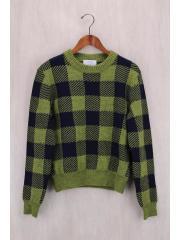 セーター(厚手)/S/ウール/GRN/チェック