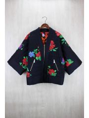 花柄刺繍リバーシブル着物ジャケット/XS/シルク/BLK/総柄