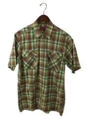 半袖シャツ/トップス/スナップシャツ/L/コットン/ブラウン/マルチカラー/中古