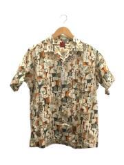 開襟シャツ/オープンカラー/ボタンダウン/BD半袖シャツ/M/コットン/CRM/総柄
