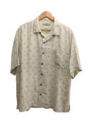 アロハシャツ/オープンカラー/開襟シャツ/L/シルク/IVO/総柄