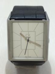 腕時計/アナログ/ラバー/WHT/BLK
