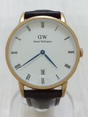 腕時計/アナログ/レザー/WHT/BRW