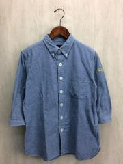 7分袖シャツ/L/コットン/BLU